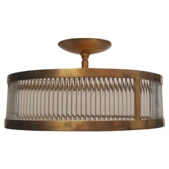 Set of Gilt Bronze Glass Rod Pendant Fixtures