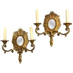 Set of Gilt Bronze Mirrored Sconces, Sold in Pairs