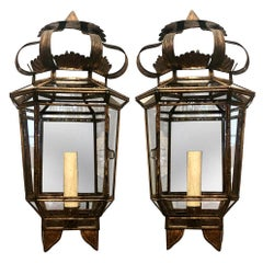 Set of Gilt Metal Lantern Sconces with Mirrored Back, Sold in Pairs