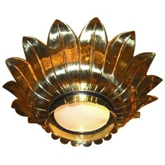 Set of Gilt Metal Light Fixtures with Inset Glass, Sold Individually