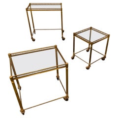 Set of Gilt Metal Neoclassical Nesting Tables, 1950s