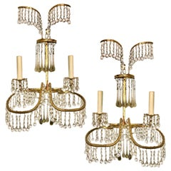 Set of Gilt Metal Sconces and Glass Drop Sconces, Sold Per Pair
