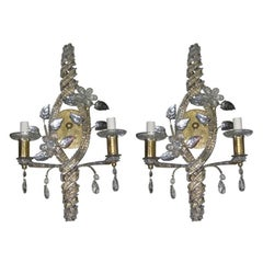 Set of Gilt Sconces with Crystals, Sold Per Pair