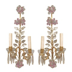 Set of Gilt Sconces with Pink Crystal Flowers