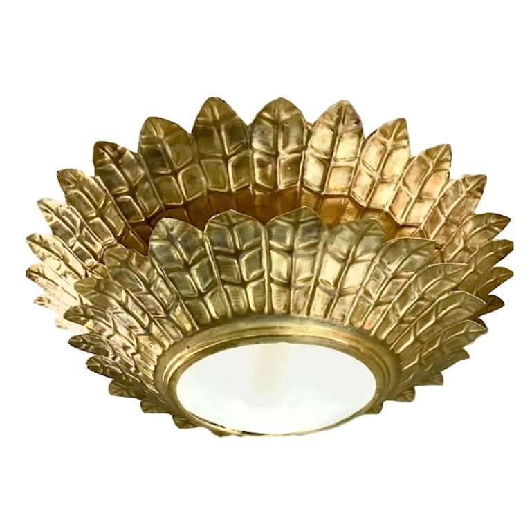 Set of Gilt Sunburst Double-Tiered Light Fixtures, Sold Individually