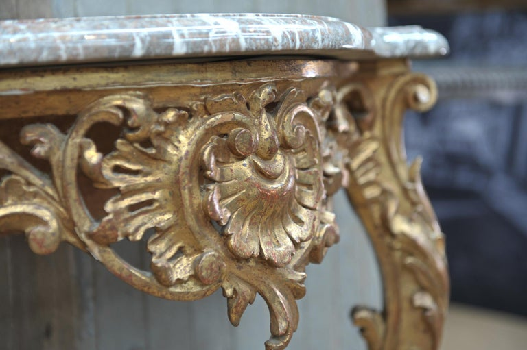 Set of Giltwood Console Table and Mirroir Louis XV's Style, circa 1960 5