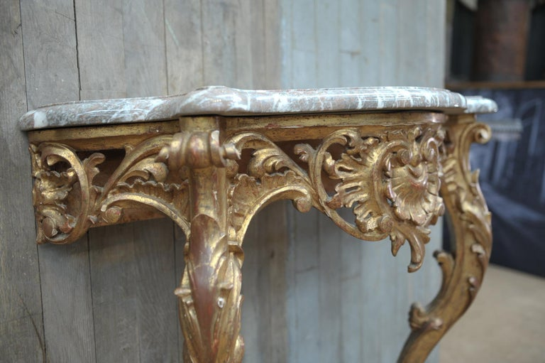 Set of Giltwood Console Table and Mirroir Louis XV's Style, circa 1960 6