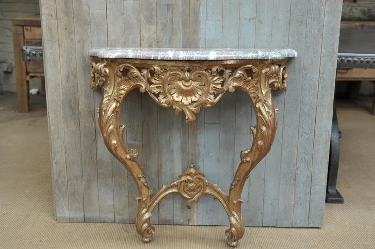 Set of Giltwood Console Table and Mirroir Louis XV's Style, circa 1960 8
