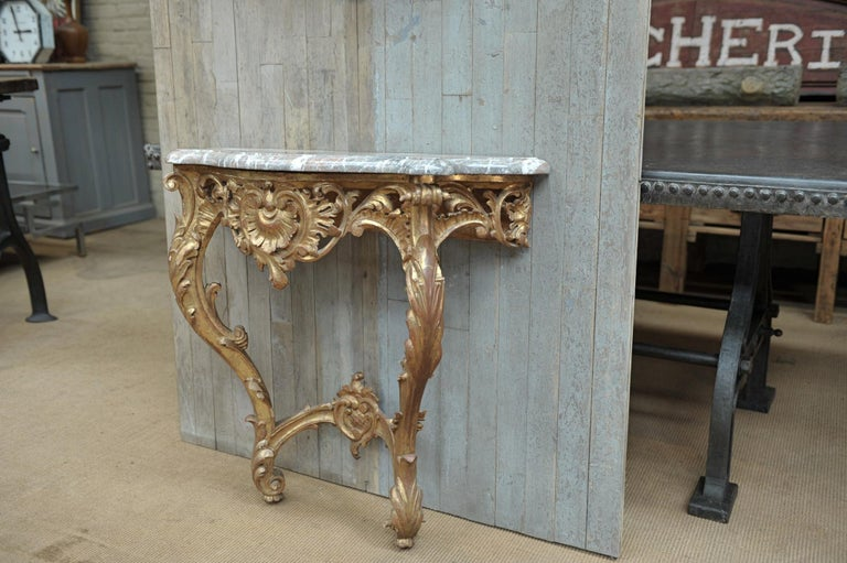 Set of Giltwood Console Table and Mirroir Louis XV's Style, circa 1960 10