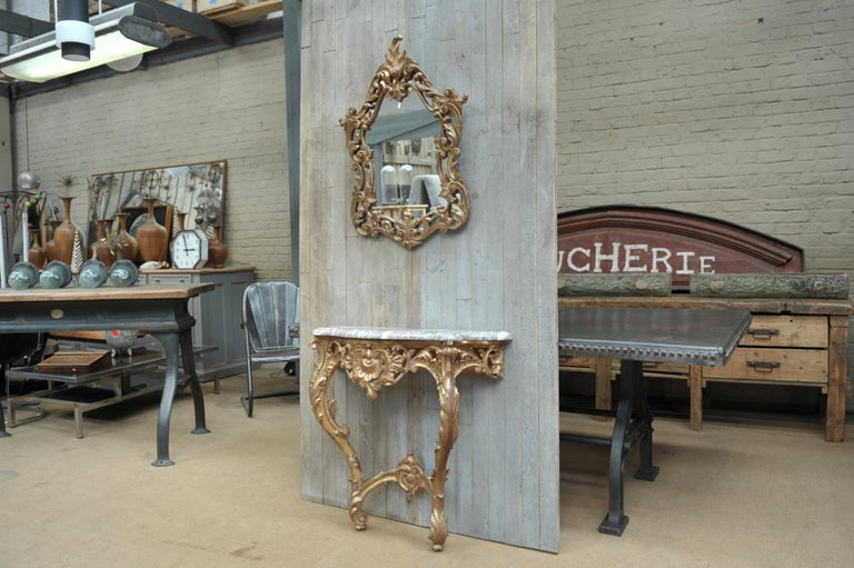 Set of Giltwood Console Table and Mirroir Louis XV's Style, circa 1960 14