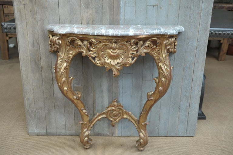 French Set of Giltwood Console Table and Mirroir Louis XV's Style, circa 1960