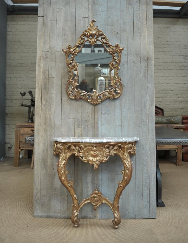 Mid-20th Century Set of Giltwood Console Table and Mirroir Louis XV's Style, circa 1960