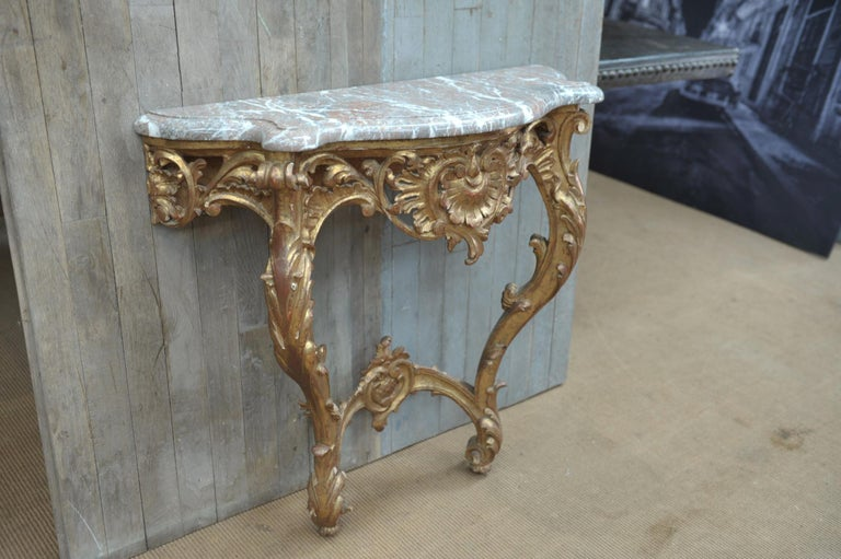 Set of Giltwood Console Table and Mirroir Louis XV's Style, circa 1960 1