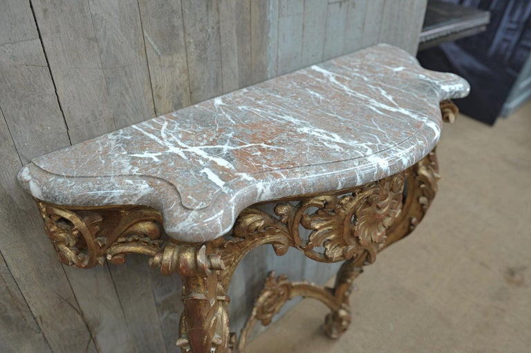 Set of Giltwood Console Table and Mirroir Louis XV's Style, circa 1960 3