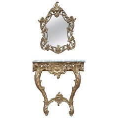 Set of Giltwood Console Table and Mirroir Louis XV's Style, circa 1960