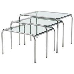 Satz von Gispen Stil Glas und Chrom Verschachteln von Tabellen, 1960er Jahre