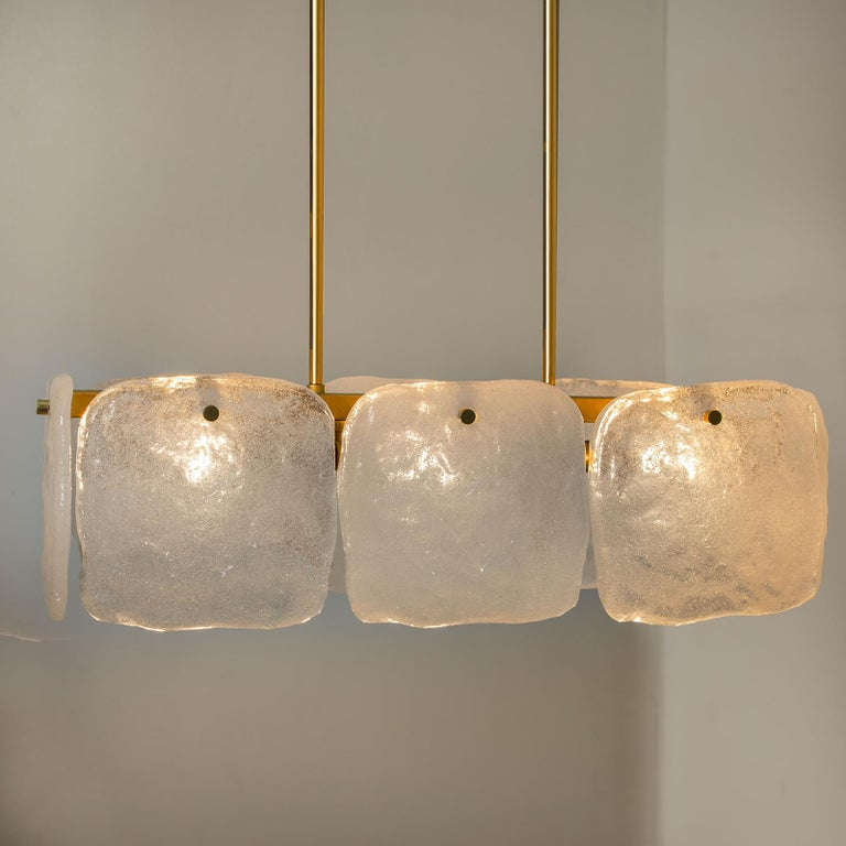 Brushed Set of Glass and Brass Light Fixtures Designed by J.T Kalmar, Austria, 1960s For Sale