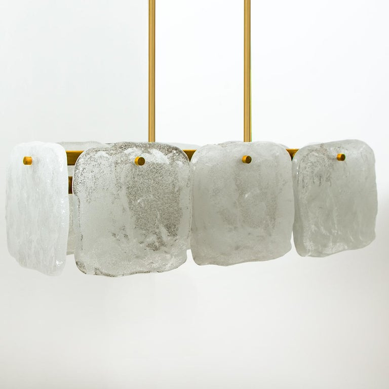Set of Glass and Brass Light Fixtures Designed by J.T Kalmar, Austria, 1960s For Sale 1