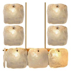 Set of Glass and Brass Light Fixtures Designed by J.T Kalmar, Austria, 1960s