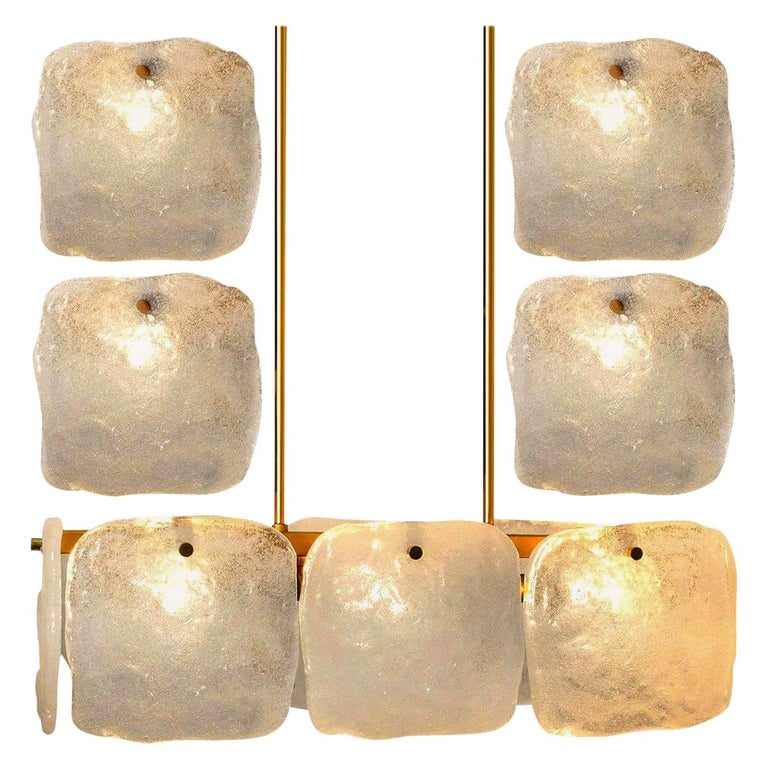 Set of Glass and Brass Light Fixtures Designed by J.T Kalmar, Austria, 1960s For Sale