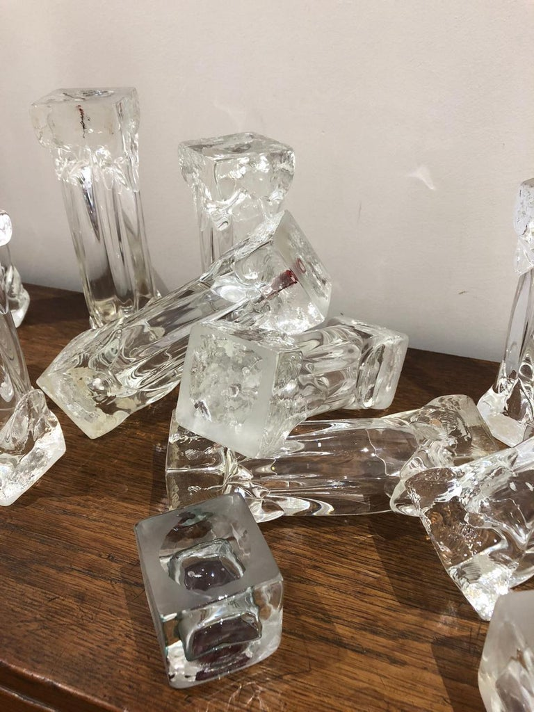 Set of Glass Candlesticks or Sculptures For Sale 3