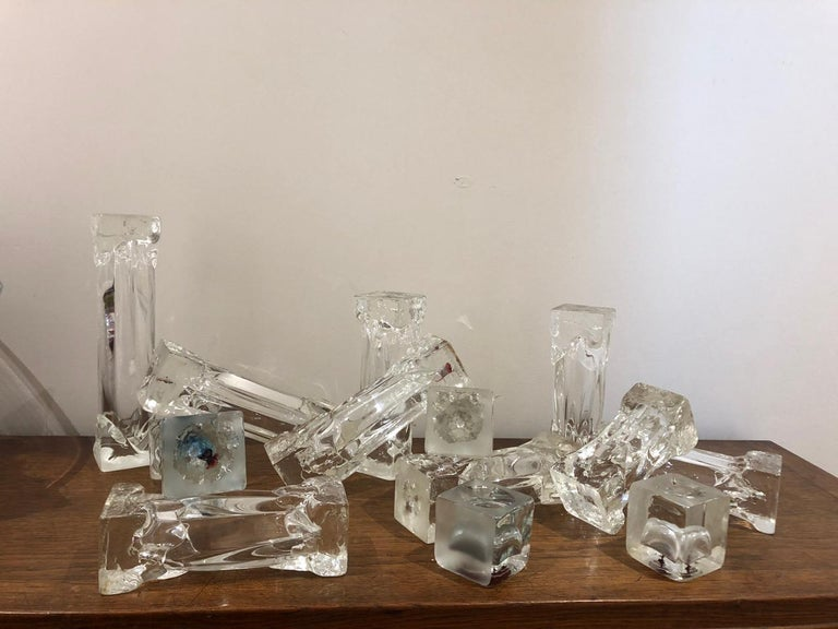 Set of Glass Candlesticks or Sculptures For Sale 6