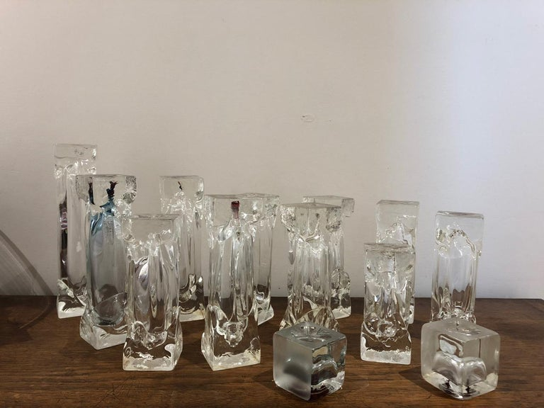 Mid-Century Modern Set of Glass Candlesticks or Sculptures For Sale