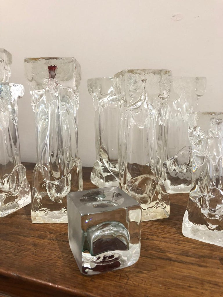 Set of Glass Candlesticks or Sculptures In Good Condition For Sale In Brooklyn, NY