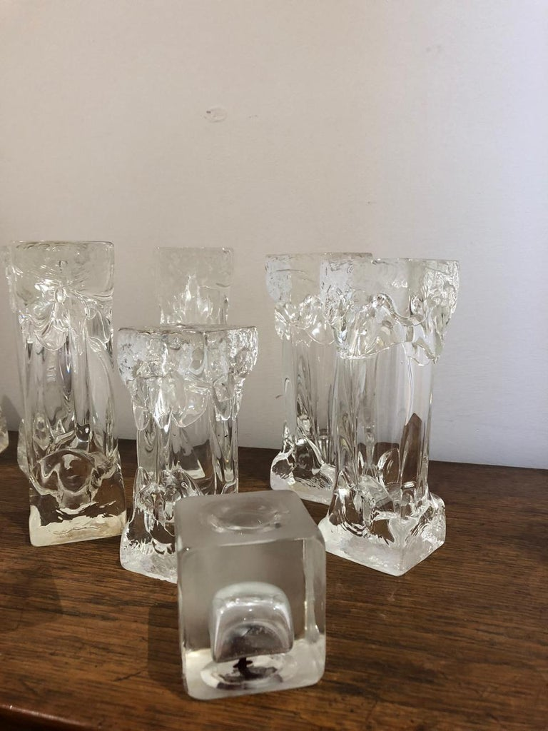 20th Century Set of Glass Candlesticks or Sculptures For Sale