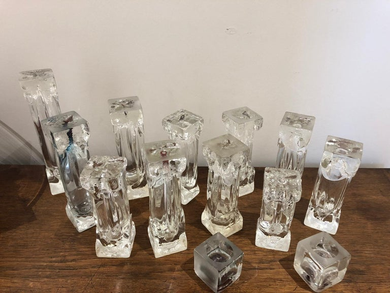 Art Glass Set of Glass Candlesticks or Sculptures For Sale