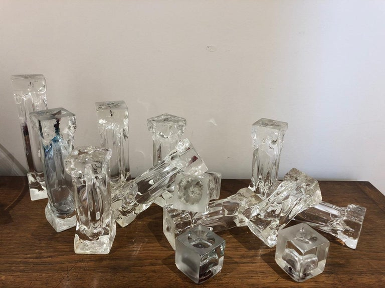 Set of Glass Candlesticks or Sculptures For Sale 1