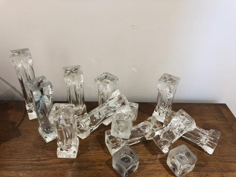 Set of Glass Candlesticks or Sculptures For Sale 2