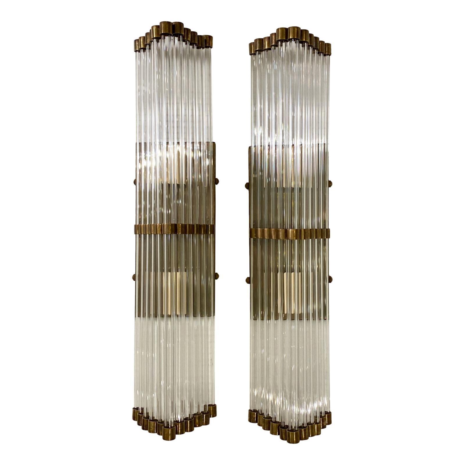 Set of Glass Rod Sconces, Sold per Pair