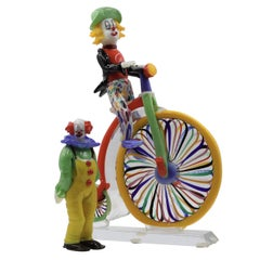Set of Glass Sculpture Clowns Signed by Pino Signoretto, Murano, Italy
