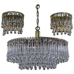 Set of Glass Tear Drop Light Fixtures Attributed to E. Palme, circa 1960s