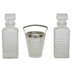 Set of Glass Whisky Bottles and Ice Bucket, circa 1950