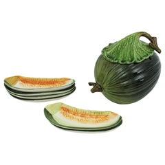 Set of Glazed Ceramic Melon Tureen and Six Melon Slice Plates