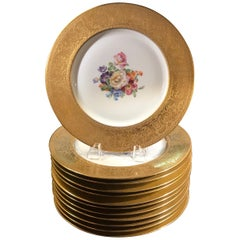 Set of Gold Encrusted Border Floral Dinner Service Plates