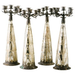 Set of Gothic Candelabra in Etched Mercury Glass and Hand-Forged Metal