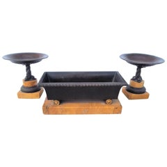 Set of Grand Tour Empire Bronze Tazza and a Coffer on Sienna Marble Bases