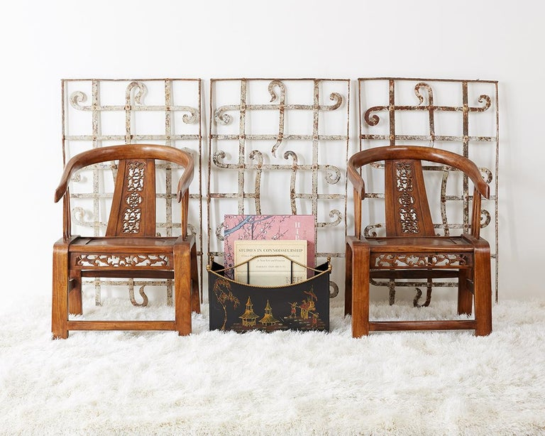 Remarkable Set Of Three Greek Style Architectural Iron Window Grills Or Grates Unique Scrolled Decoration
