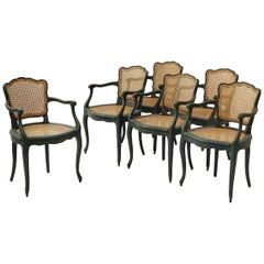 Set of Grey Green Painted Wood and Caned Modern French Provincial Dining Chairs