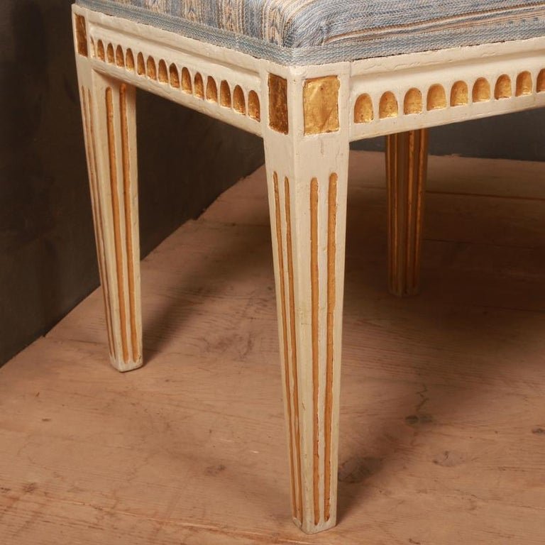 Hand-Painted Set of Gustavian Stools For Sale