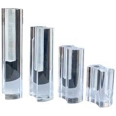Set of Guzzini Midcentury Crystal Plexiglass Italian Vases, 1970s