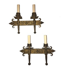 Set of Hammered Wrought Iron Sconces