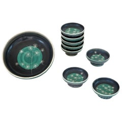 Set of Handmade Ceramic Bowls by Tapis Vert in Vallauris, 1950s
