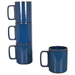 Set of Hasami Porcelain Mugs, Gloss Blue