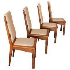 Set of Height Midcentury Chairs in Oak Designed by Charles Dudouyt