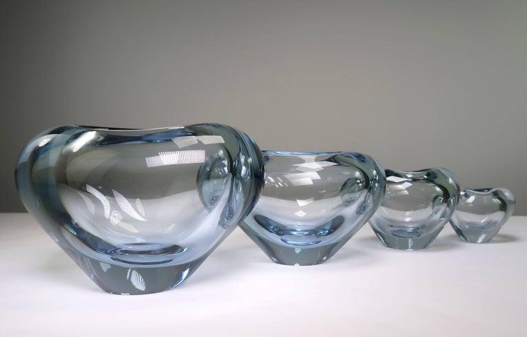 Mid-20th Century Set of Holmegaard Danish Modern Heart Shaped Light Blue Art Glass Vases, 1961 For Sale