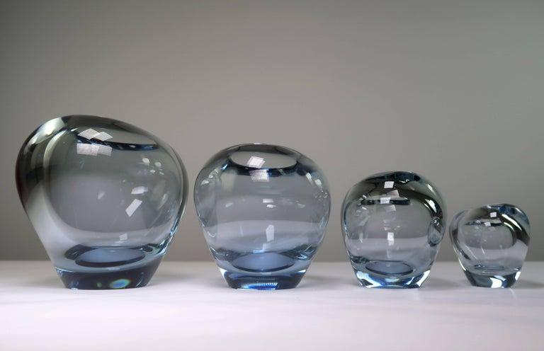 Set of Holmegaard Danish Modern Heart Shaped Light Blue Art Glass Vases, 1961 For Sale 1